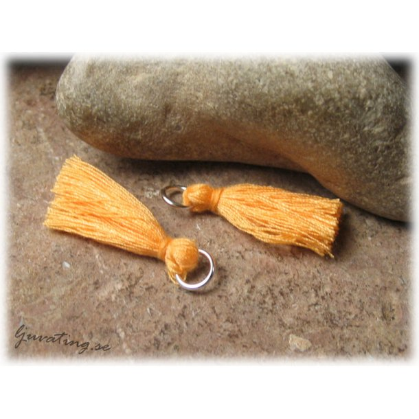 Liten orange tofs tassel med ring ca 32 mm