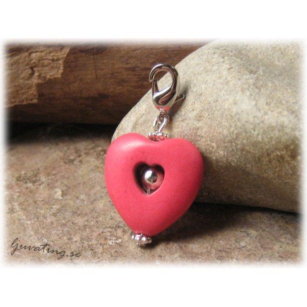 Berlock/hänge hjärta rosa howlite med klolås