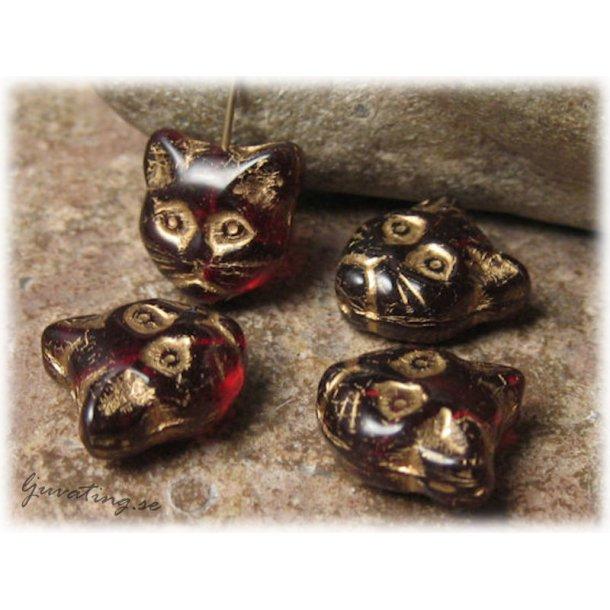 Kattansikte garnetröd med gulddekor ca 12x12 mm