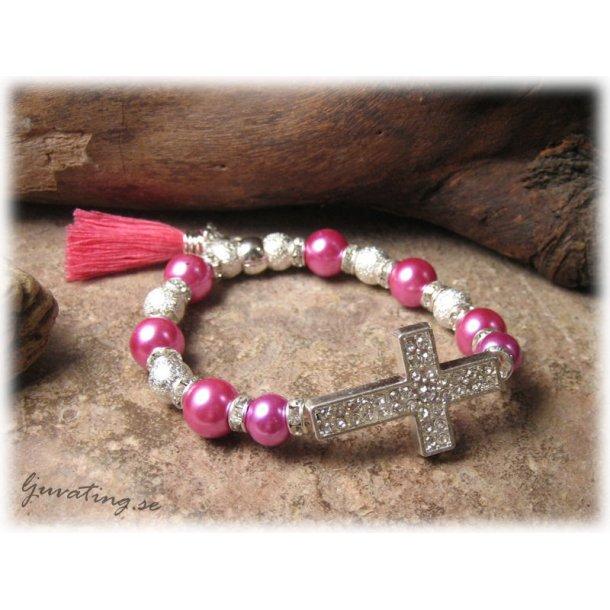 Armband i cerise med strass kors inför sommaren