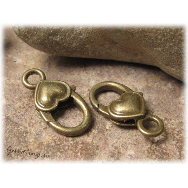 Karbinhake klolås bronsfärgat hjärta ca 27x15 mm